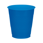10 Cups Bright Royal Blue Plastic 355 ml