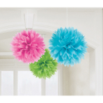 3 Fluffy Decorations Multicolour Paper 40.6 cm