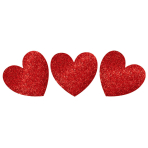 20 Cutouts Glitter Hearts Paper 29.2 cm / 17.7 cm / 12.7 cm