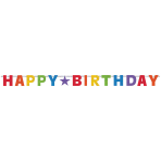 Letter Banner Birthday Accessories Primary Rainbow Foil 243.8 x 16.5 cm