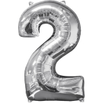 Mid Size Number 2 Silver Foil Balloon L26 Packaged 43cm x 66cm