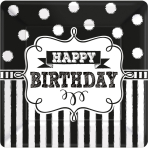 8 Plates Chalkboard Birthday  Paper Squared 17.7 x 17.7 cm