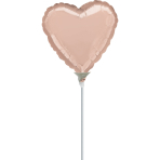 "9'' ""Rose Gold"" Foil Balloon Heart, D05, airfilled, 23cm"
