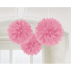 3 Fluffy Decorations Light Pink 40.6 cm