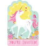 8 Invitations & Envelopes & Stickers Magical Unicorn Paper 10.7 x 15.8 cm