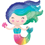 Supershape Colorful Mermaid Foil Balloon P35 packaged 73cm x 76cm