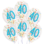 "6 Latex Balloons Droplets 40 Confetti Birthday 1C Confetti Filled Paper 27.5 cm / 11"""