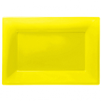 3 Platters Sunshine Yellow Plastic Rectangular 33 x  23 cm