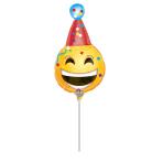 Mini Shape Bday Emoticon Foil Balloon, A30, airfilled, 17x33 cm