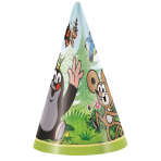 8 Party Cone Hats Little Mole Paper Height 16 cm