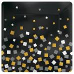 8 Plates Sparkling Confetti Paper Squared Metallic 25.4 x 25.4cm