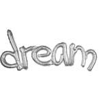 "Phrase  Freestyle""Dream"" Silver Foil Balloon, P20, packed, 93 x 45cm"