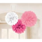 3 Fluffy Decorations Light Pink / Dark Pink / White Paper 40.6 cm