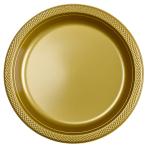 10 Plates Gold Plastic Round 22.8 cm