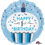 "Standard ""1st Birthday Cupcake Boy"" Foil Balloon Round Hologr., S55, packed, 43 cm"