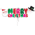 "SuperShape ""Santa&Snowman Banner"" Foil Balloon, P35,packed, 104x40 cm"