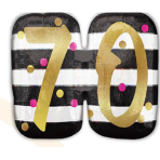 """SuperShape Holographic """"Pink & Gold Milestone 70"""" Foil Balloon, P40, packed, 63 x 50 cm"""