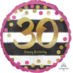 """Standard """"Pink & Gold Milestone 30"""" Foil Balloon Round Holographic, S55, packed, 43cm"""