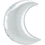 Mini Shape White Satin Crescent Foil Balloon A25 Bulk