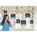 12 Swirl Decorations Birthday Accessories - Black & White Personalize It 17 cm/12 cm