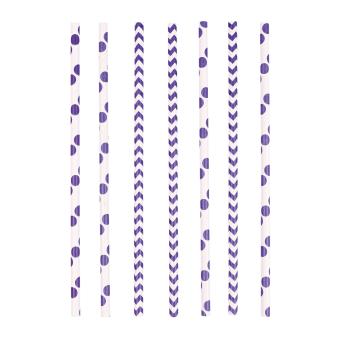 24 Drinking Straws Dots & Chevron New Purple Paper 19.7 cm