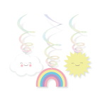 6 Swirl Decorations Rainbow & Cloud Foil 80 / Paper cm