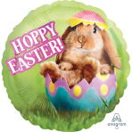 """Standard """"Avanti Hoppy Easter"""" Foil Balloon Round, S60, packed, 43cm"""