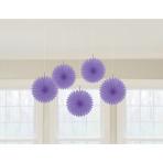 5 Fan Decorations New Purple Paper 15.2 cm