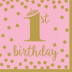 16 Napkins 1st Birthday Pink & Gold 33cm
