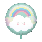 "Standard ""Rainbow & Cloud"" Foil Balloon Round, S40, packed, 43 cm"