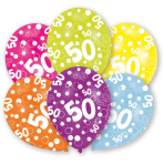 6 Latex Balloons All Round Printed Age 50 27.5 cm/11''