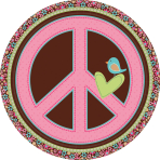8 Plates Hippie Chick Peace Sign 23 cm