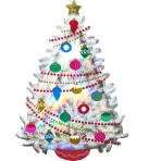 SuperShape Iridescent Christmas Tree Holographic Foil Balloon, P40 packaged