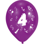 """8 Latex Balloons Age 4 2-Sided 25.4 cm / 10"""""""