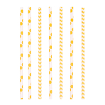 24 Drinking Straws Dots & Chevron Sunshine Yellow Paper 19.5 cm