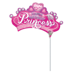 "Mini Shape ""Princess Crown with Gem"" Foil Balloon, A30, bulk, 33 x 20cm"