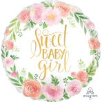 Standard Floral Baby Girl Foil Balloon S40 packaged