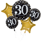 "Bouquet ""Sparkling Birthday 30"" 5 Foil Balloons, P75, packed"