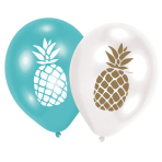 6 Latex Balloons Pineapple Vibes 27.5 cm / 11""