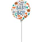 "4"" Baby Boy Woodland Fun Foil Balloon circle A10 Bulk"