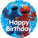 "Standard ""Sesame Street Fun Happy Birthday"" Foil Balloon Round, S60, packed, 43cm"