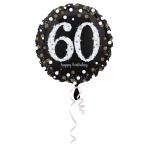 Standard Sparkling Birthday 60 Foil Balloon Round S55 Packaged 43 cm