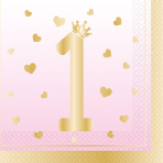 16 Napkins 1st Birthday Pink Ombre 33 x 33 cm
