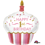 "SuperShape ""1st Birthday Cupcake Girl"" Foil Balloon Hologr., P40, packed, 73 x 91cm"