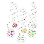 6 Swirl Decorations 50 Confetti Birthday Paper 61 cm