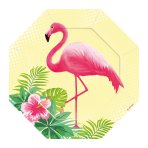 6 Plates Formshaped Flamingo Paradise Paper 18.5 x 18.5 cm