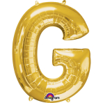 SuperShape Letter G Gold Foil Balloon L34 Packaged 63cm x 81cm