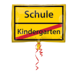 "Junior Shape ""Schulanfang - Schild"" Foil Balloon, S50, packed, 43 x 30 cm"
