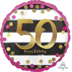 """Standard """"Pink & Gold Milestone 50"""" Foil Balloon Round Holographic, S55, packed, 43cm"""
