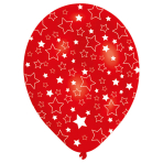 6 Latex Balloons All Round Printed Stars 27.5 cm / 11""
